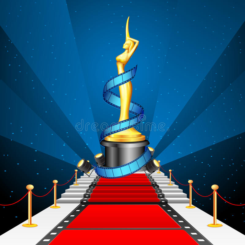 Cinema Award on Red Carpet. Illustration of golden cinema award with film reel on red carpet vector illustration