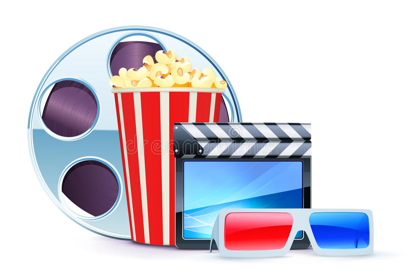 Cinema background. Vector illustration of cinema background with 3D glasses, popcorn, clapperboard and a film reel stock illustration