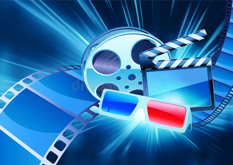 Cinema background. Vector illustration of blue abstract cinema background with anaglyph glasses, clapperboard and a film reel vector illustration