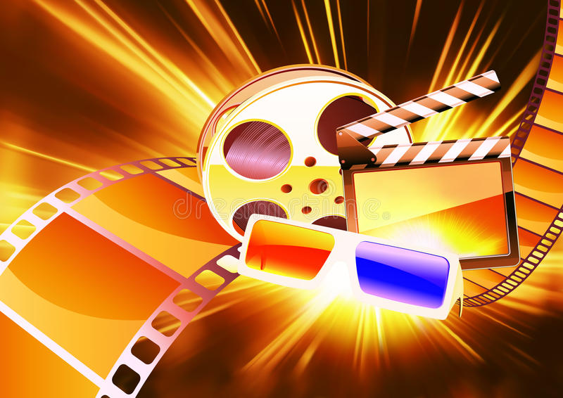 Cinema background. Vector illustration of orange abstract cinema background with anaglyph glasses, clapperboard and a film reel vector illustration