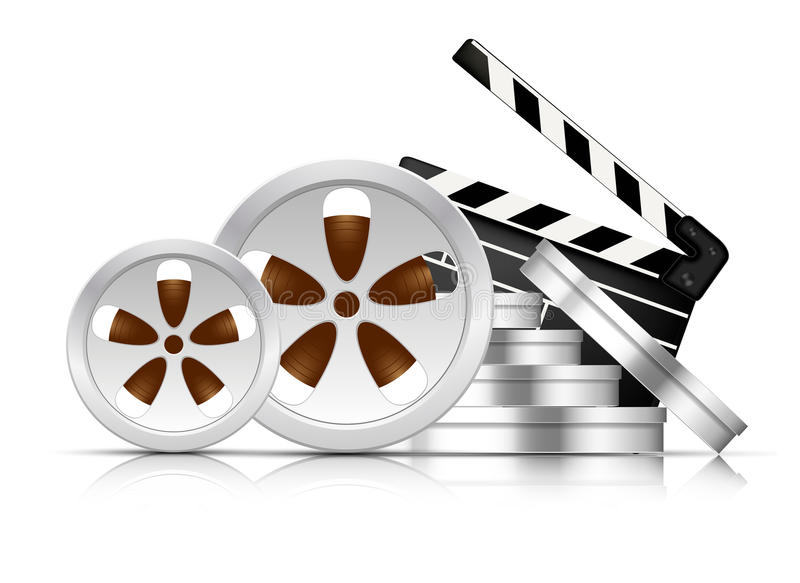 Cinema background. Bright cinema background with stack of film reel stock illustration