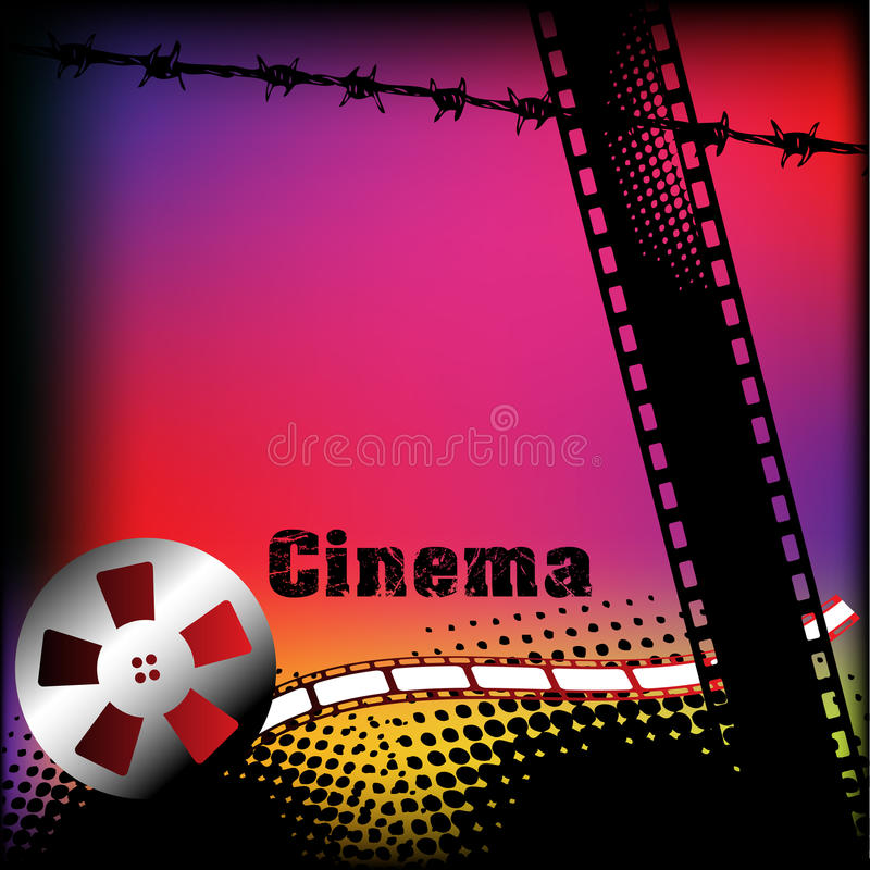 Cinema background. Abstract colorful illustration with grunge film strip, barbed wire and colored film reel royalty free illustration