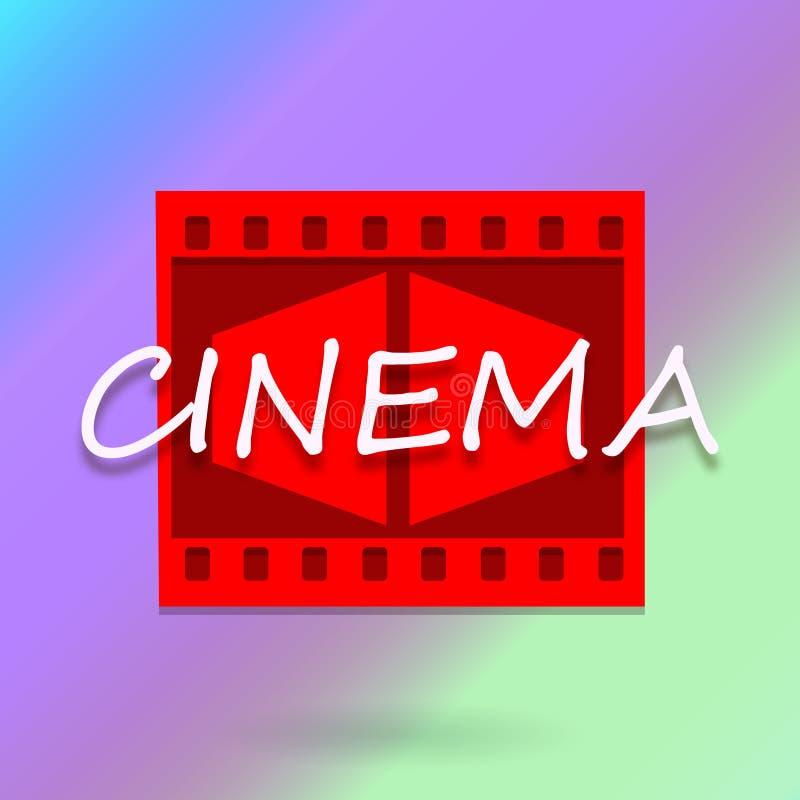 Cinema background. Cinema design with inscription on colorful background stock illustration