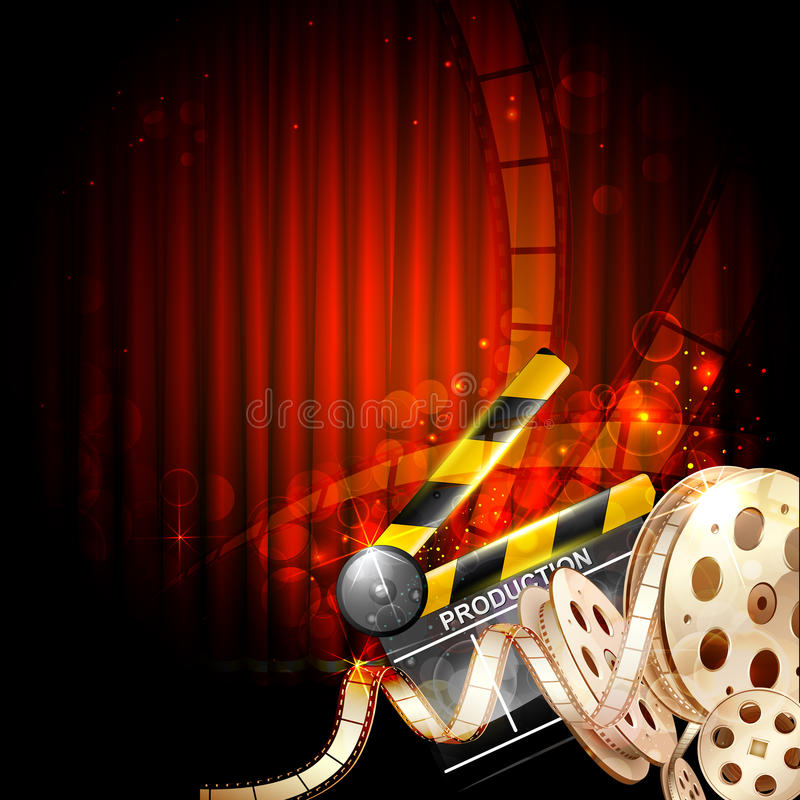 Cinema Background. Illustration of Cinema background with clapper board and film reel vector illustration