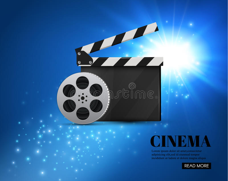 Cinema Background With Movie.Blue background with light star.Clapper Board. Vector Flyer Or Poster. stock illustration