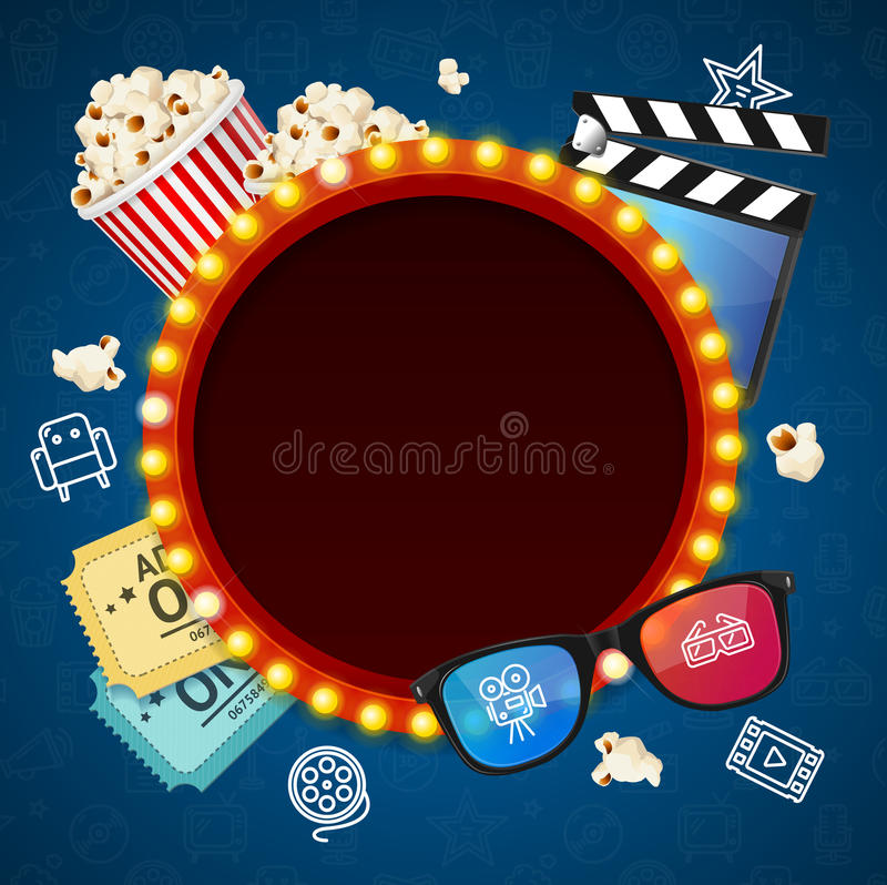 Cinema Background witch Light Bulbs Vintage Neon Glow Frame. Vector royalty free illustration