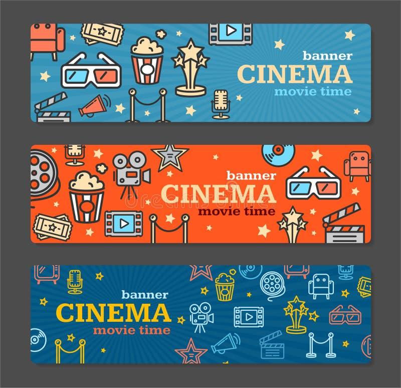 Cinema Banner Card Tickets Set. Vector vector illustration