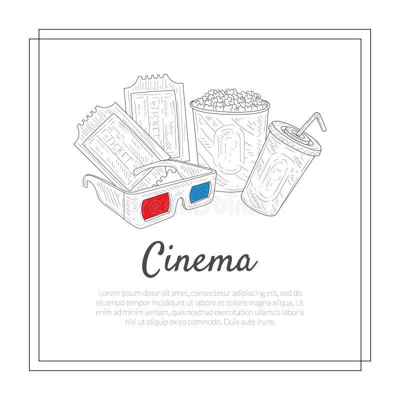 Cinema Banner Template, Tickets, 3d Gasses, Soda Drink, Popcorn Movie Symbols Vector Illustration stock illustration