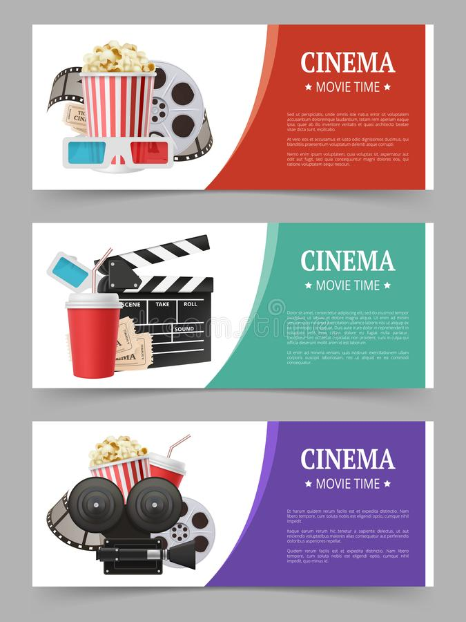 Cinema banners template. Movie flyer with film symbols camera tape stereo glasses vector realistic images stock illustration