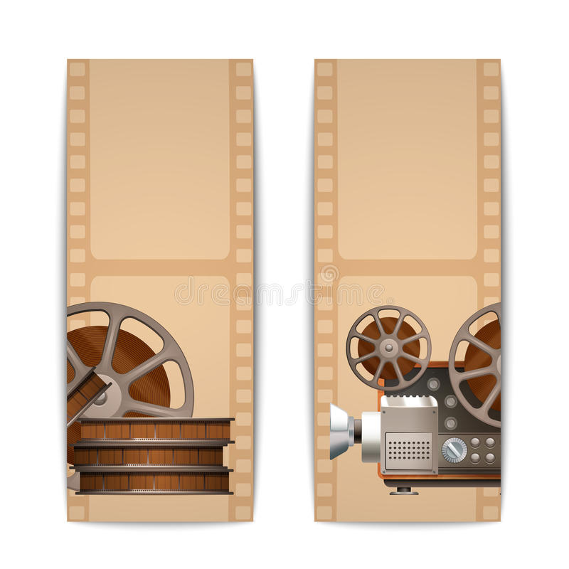 Cinema Banners Vertical. Set with realistic retro projector and film reel isolated vector illustration vector illustration