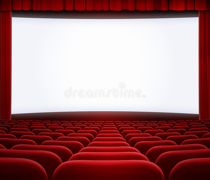 Cinema Big Screen With Red Curtain And Seats Stock Photo - Image ...