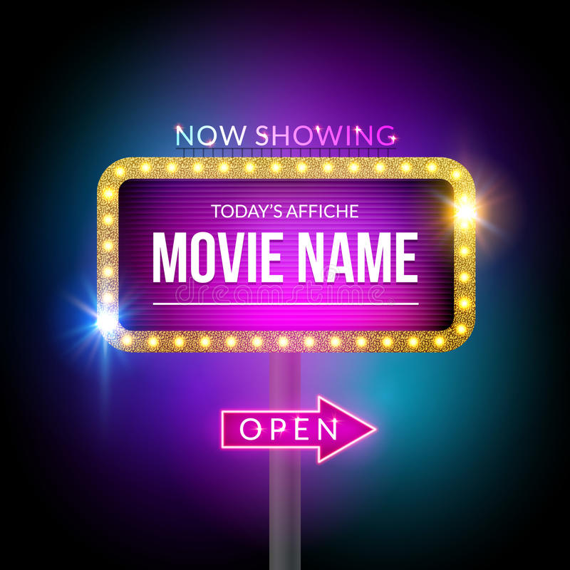 Cinema billboard now showing. Vector sign for theater with lights. Shiny banner decoration stock illustration