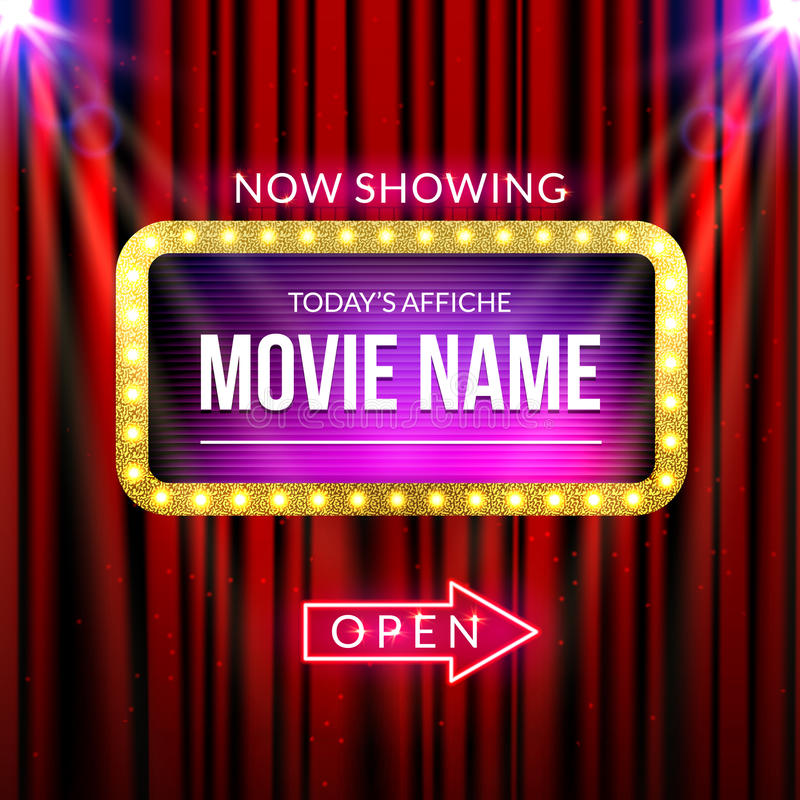 Cinema billboard now showing. Vector sign for theater with lights. Shiny banner decoration curtains.  royalty free illustration