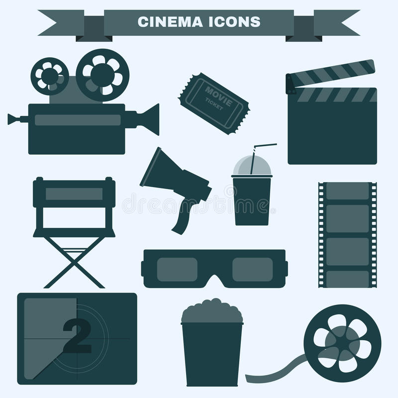 Cinema black and white icon set. Cinema icon set. Making Movie. Camera, Movie Ticket, Clapper board, Directors Seat, Loudhailer, Cocktail glass with tube, Film stock illustration