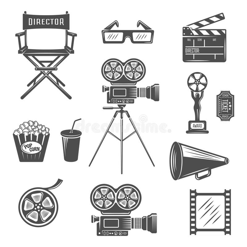 Cinema Black White Icons Set. With projector clapper megaphone reel 3d-glasses snack drink vector illustration vector illustration