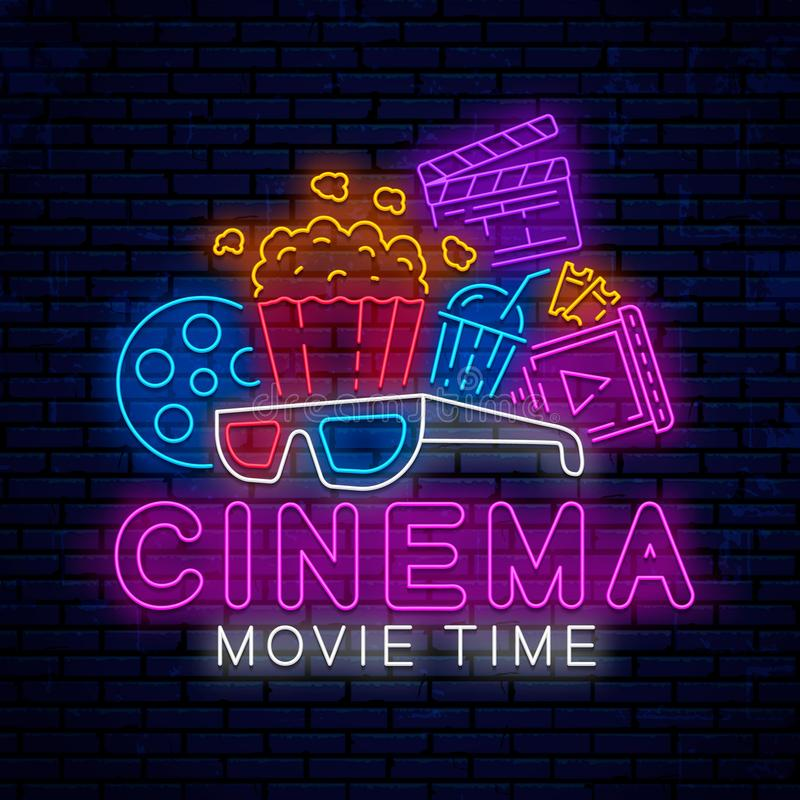 Cinema bright neon sign. Cinema bright neon sign, icon, logo, emblem. Vector design for use in the web, advertising, poster and banner. Bright night neon stock illustration