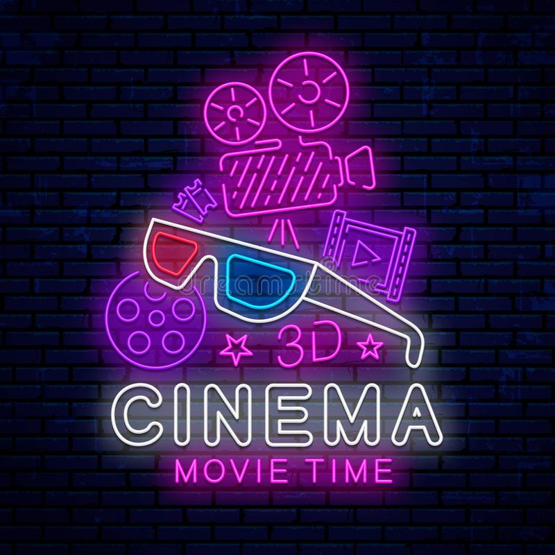 Cinema, bright neon sign. Cinema, bright neon sign, logo, emblem, icon, decoration, design element for the design of the banner, advertising, poster, signboard stock illustration