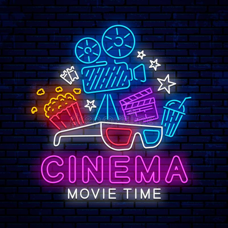 Cinema bright neon sign. Ready bright design for advertising, banner, poster and more. Bright neon template sign, logo, emblem, icon for cinema. Vector glowing stock illustration