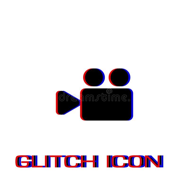 Cinema camera icon flat. Simple pictogram - Glitch effect. Vector illustration symbol royalty free illustration