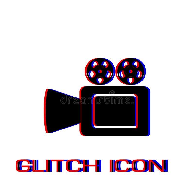 Cinema camera icon flat. Simple pictogram - Glitch effect. Vector illustration symbol stock illustration