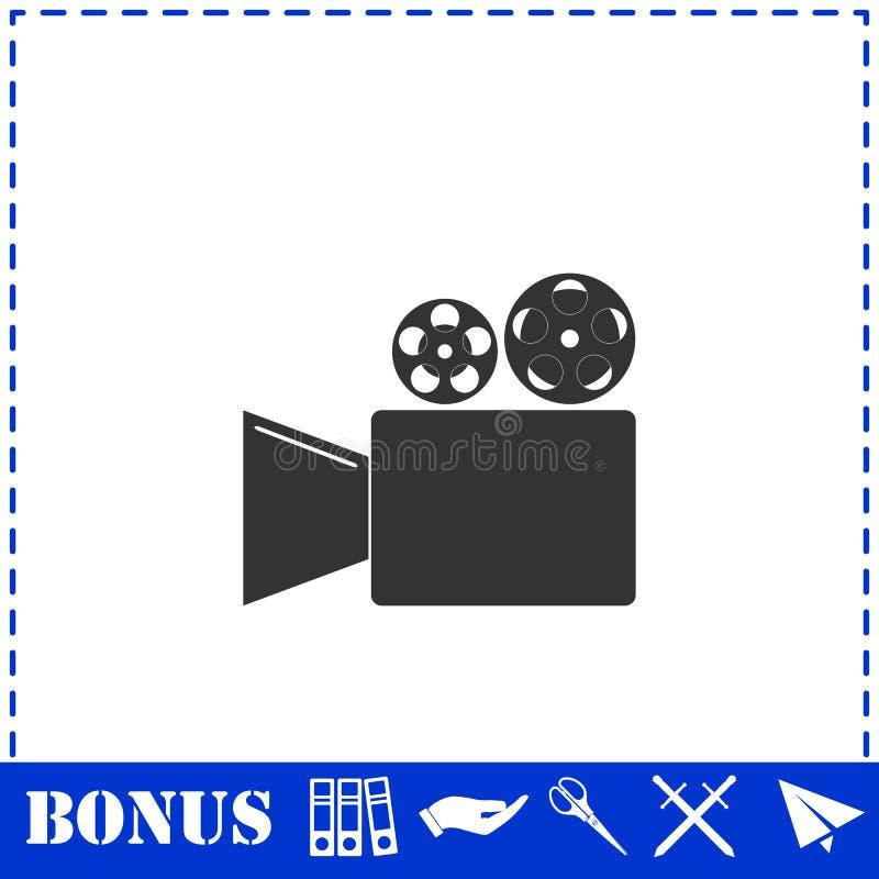 Cinema camera icon flat. Simple vector symbol and bonus icon vector illustration