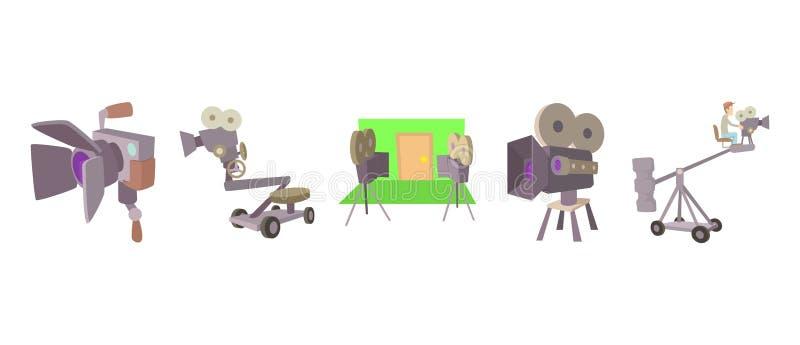 Cinema camera icon set, cartoon style royalty free illustration