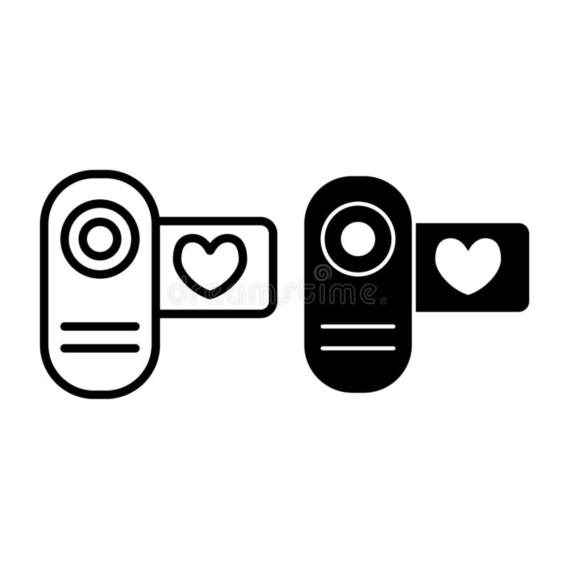 Cinema camera line and glyph icon. Love video vector illustration isolated on white. Wedding film outline style design. Designed for web and app. Eps 10 stock illustration