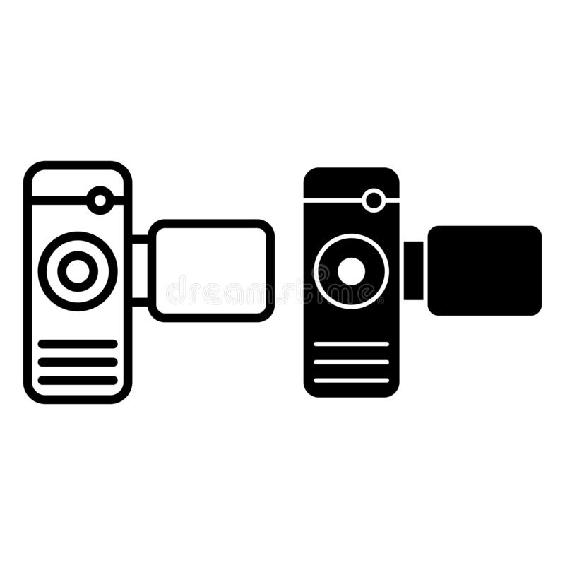 Cinema camera line and glyph icon. Portable video camera vector illustration isolated on white. Film cam outline style. Design, designed for web and app. Eps 10 stock illustration