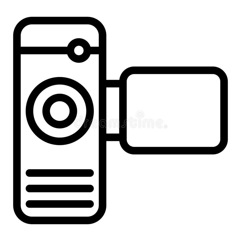 Cinema camera line icon. Portable video camera vector illustration isolated on white. Film cam outline style design. Designed for web and app. Eps 10 royalty free illustration