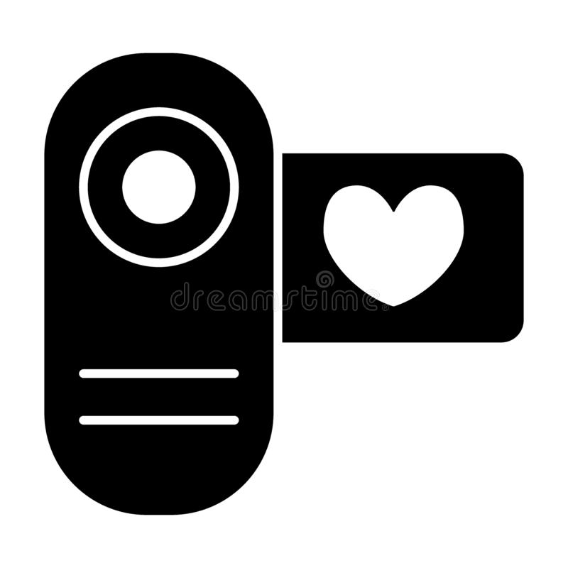 Cinema camera solid icon. Love video vector illustration isolated on white. Wedding film glyph style design, designed. For web and app. Eps 10 stock illustration