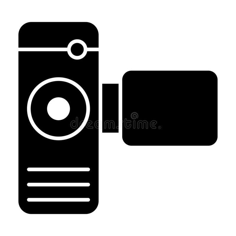 Cinema camera solid icon. Portable video camera vector illustration isolated on white. Film cam glyph style design. Designed for web and app. Eps 10 royalty free illustration