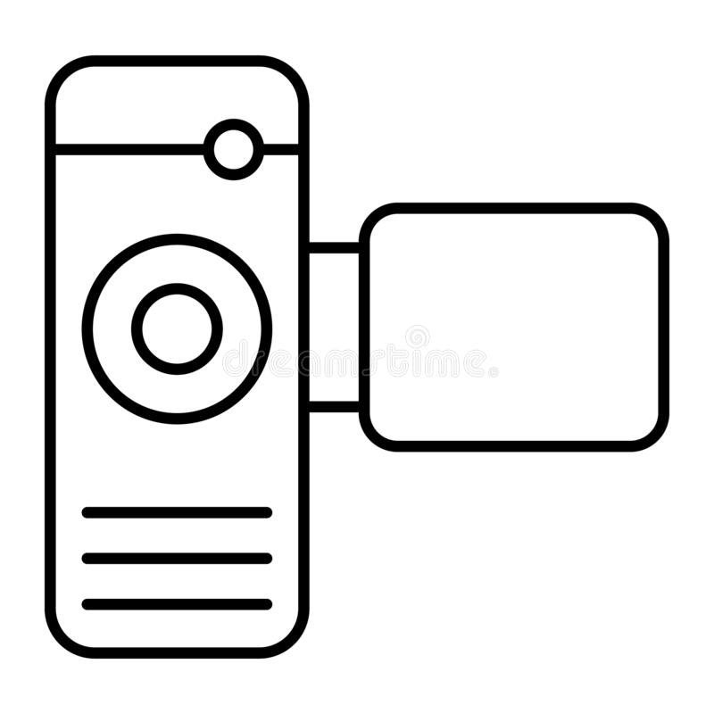 Cinema camera thin line icon. Portable video camera vector illustration isolated on white. Film cam outline style design. Designed for web and app. Eps 10 royalty free illustration