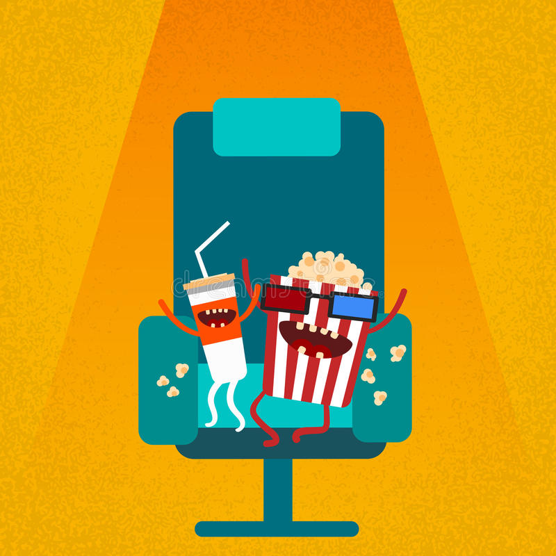 Cinema Chair Film Movie Seat Cartoon Cola Popcorn Stock ...