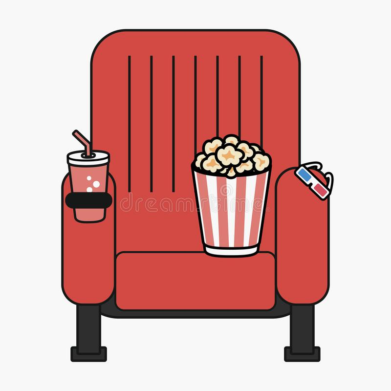 Cinema chair with popcorn, cup of drink and 3D glasses. vector illustration