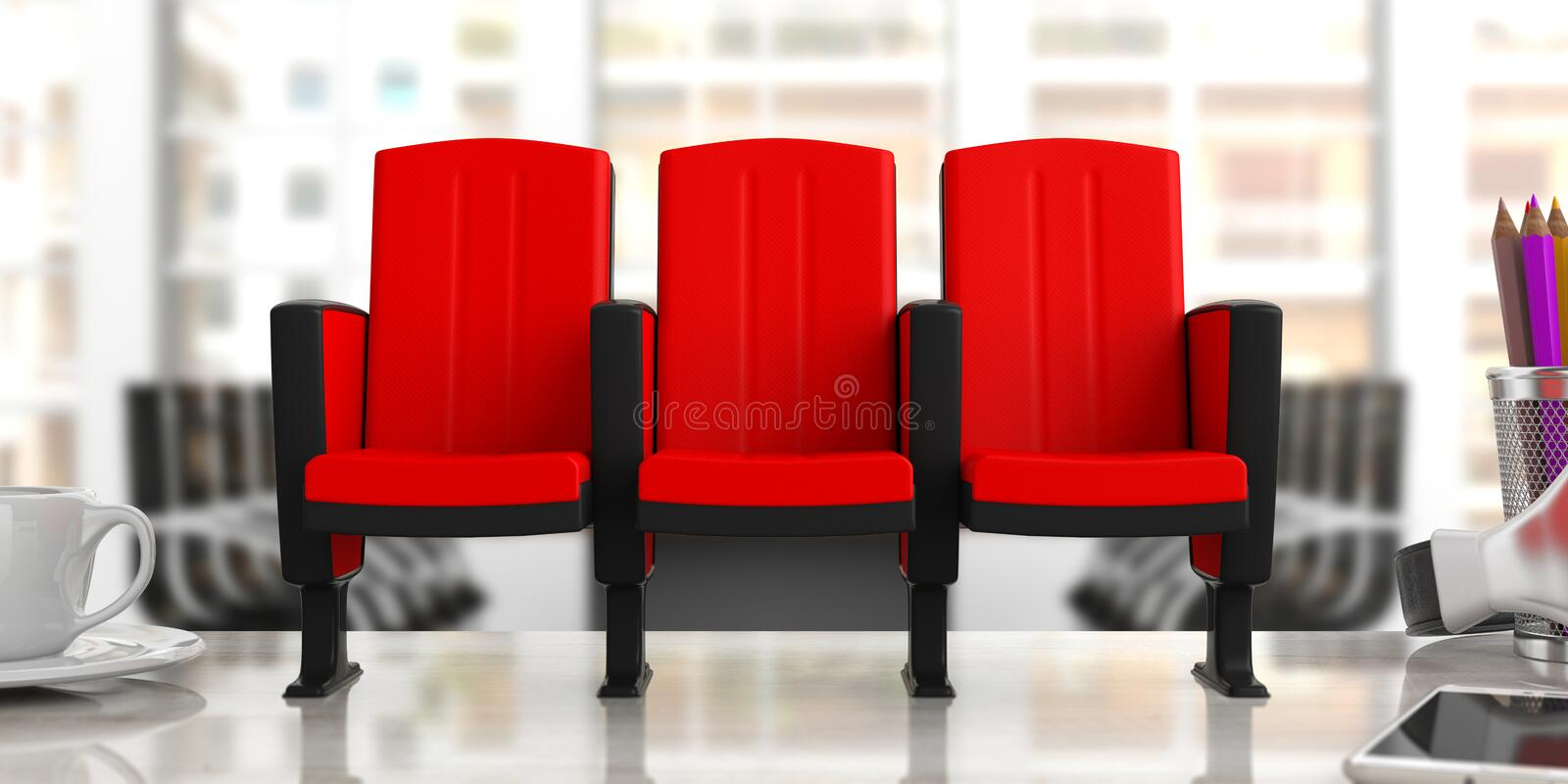 Download Cinema Chairs On Blur Office Background, Front View. 3d  Illustration Stock Illustration