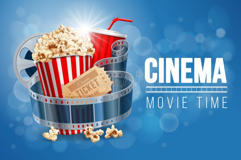 Cinema. Tograph concept banner design template with popcorn, drink, film reel, film tape and ticket on blue bokeh background. Realistic vector illustration stock illustration