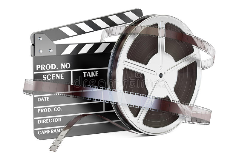 Cinema and cinematography concept. Clapperboard with film reels, 3D rendering. On white background royalty free illustration