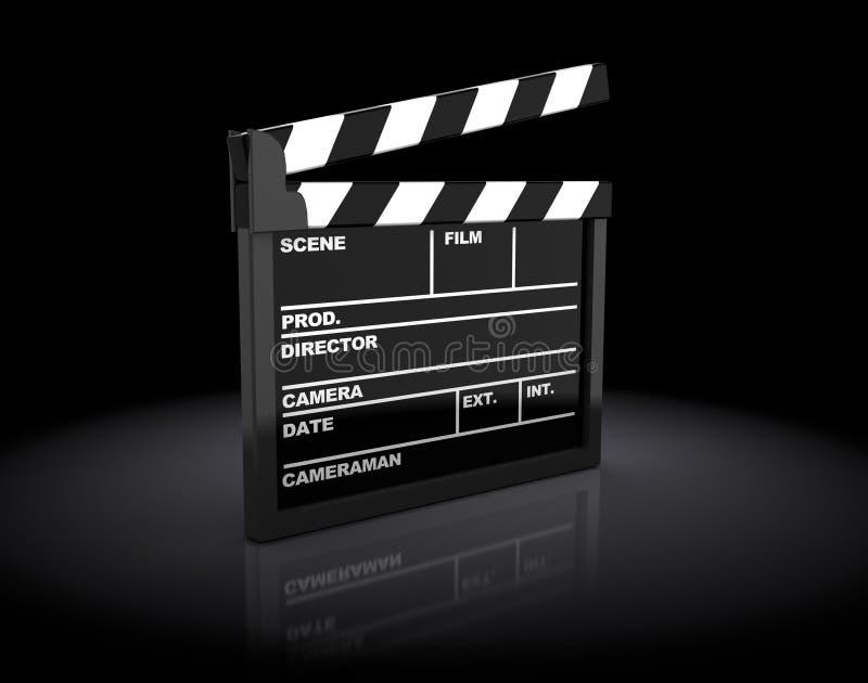 Cinema clap. 3d illustration of cinema clap over dark background royalty free illustration