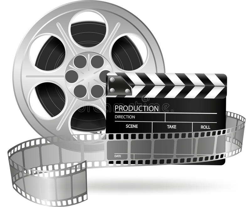 Cinema clap and film reel on white. Illustration of cinema clap and film reel on white royalty free illustration