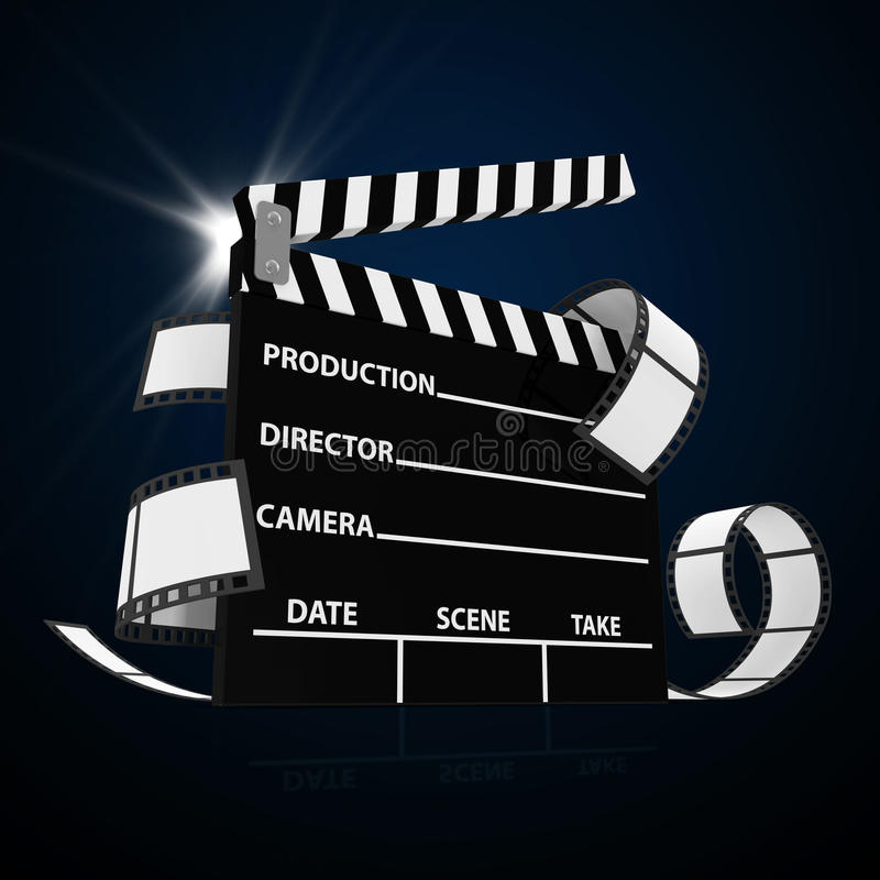 Cinema Clap with Film Strip and Spotlight. Abstract Illustration of Cinema Clap with Film Strip and Spotlight stock illustration