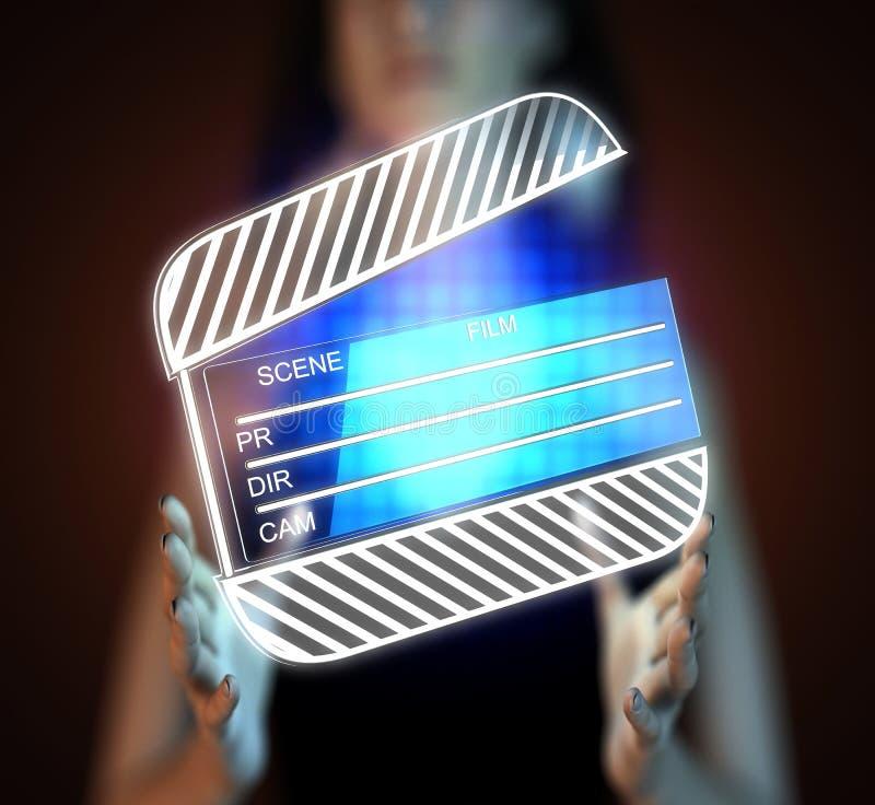 Cinema clap on hologram. Cinema clap on futuristic hologram stock illustration