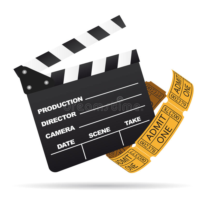 Cinema clapboard with tickets vector
