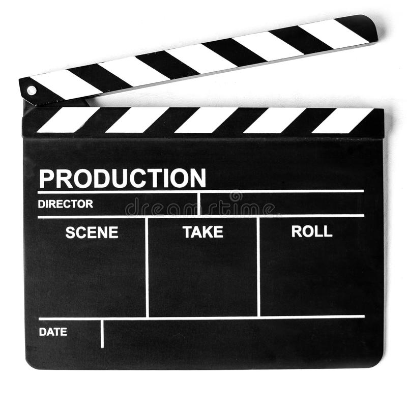 Cinema clapper board on white royalty free stock images