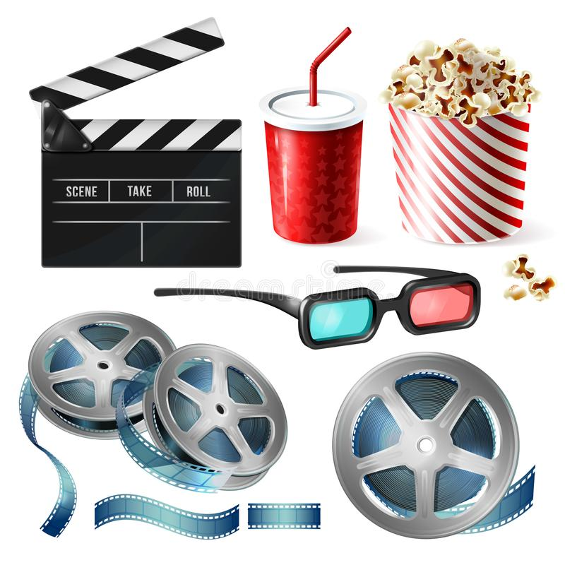 Cinema clipart of 3d vector realistic objects royalty free illustration