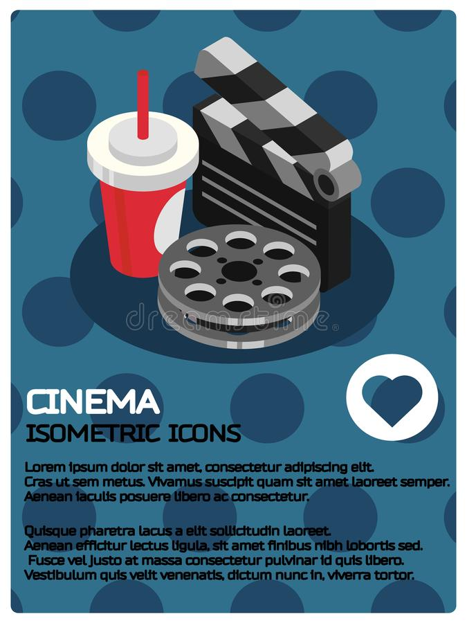 Cinema color isometric poster vector illustration