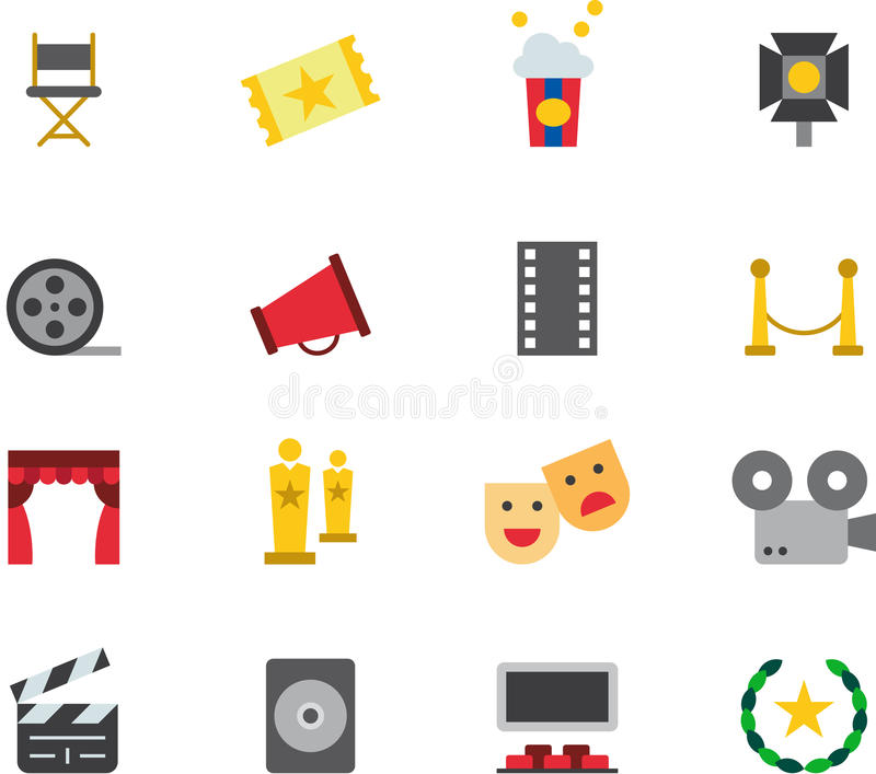 CINEMA colored flat icons stock illustration