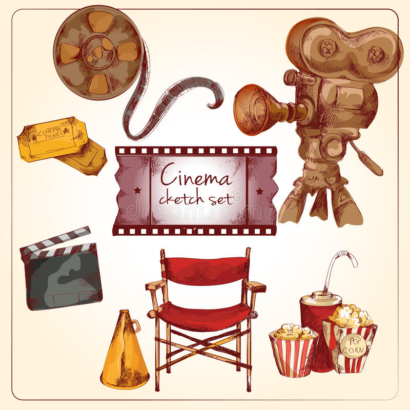 Cinema colored sketch set. Cinema entertainment media hand drawn elements of film reel director chair camera isolated vector illustration vector illustration