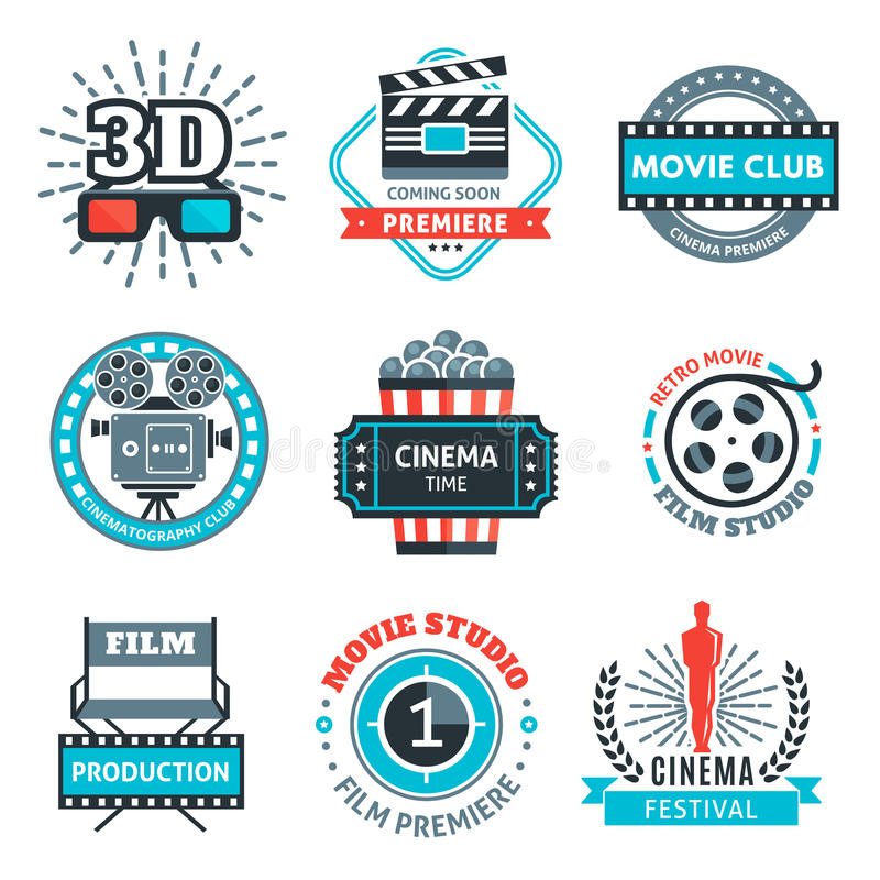 Cinema Colorful Emblems. With projector reel clapper 3d-glasses award ticket popcorn rays chair vector illustration stock illustration