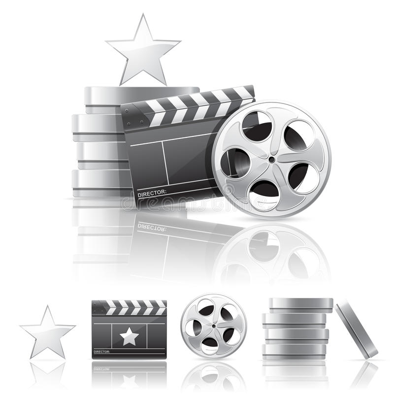 Cinema composition. Movie clapper, film reel, containers and shiny star isolated on white background royalty free illustration