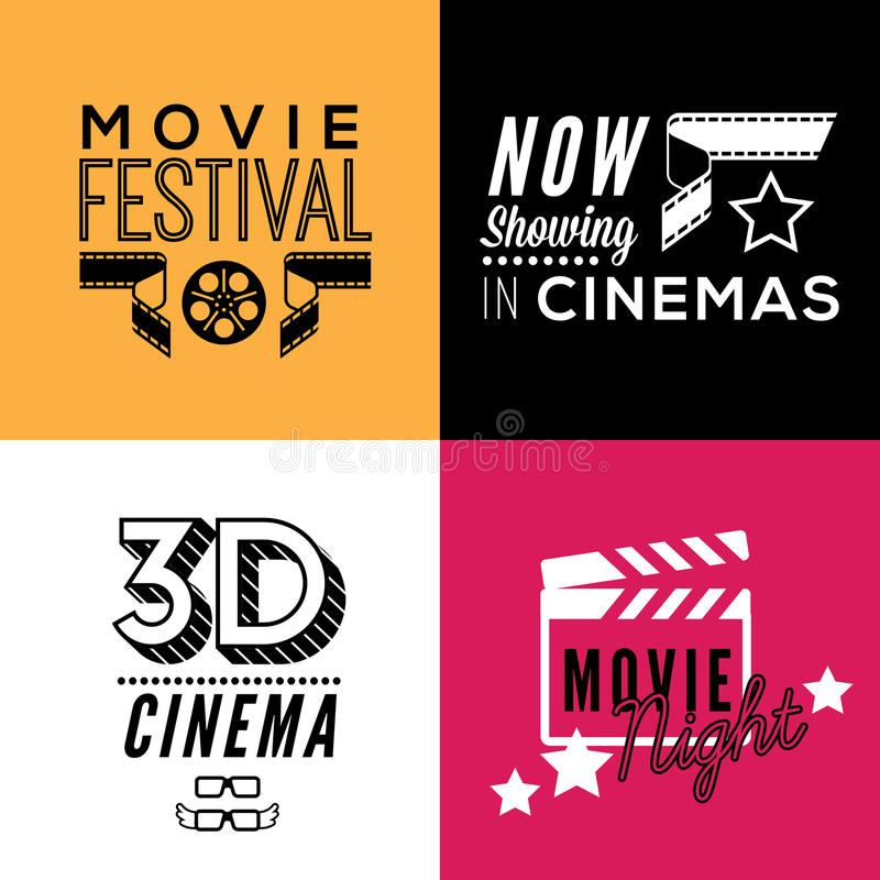Cinema compositions with text. Set of four decorative compositions with cinema symbols and text. Cinema theatre illustration for web, flyers, print design vector illustration